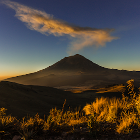 Sunrise in the mountain by Cristobal Garciaferro Rubio - Landscapes Prairies, Meadows & Fields ( volcano, sunrise, smoking volcano, smoke, sun )
