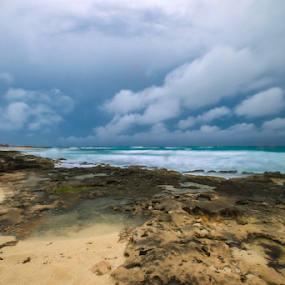 Rocks sand and sea by Cristobal Garciaferro Rubio - Landscapes Beaches ( shore, clouds, sea, rocks )