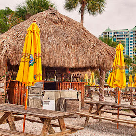 Tiki Hut by James Farnum - Buildings & Architecture Other Exteriors ( thatched roof hut, benches with umbrellas, tiki bar with picnic tables, tiki bar with thatched roof and yellow umbrellas, tiki hut )