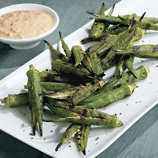 Grilled Okra with Smoked Paprika-Shallot Dip