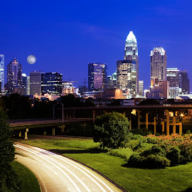 Charlotte, NC The Blue Hour by George Holt - Buildings & Architecture Office Buildings & Hotels ( lights, moon, cars, blue hour, light trails, sky line, full moon, charlotte, bridges, north carolina )