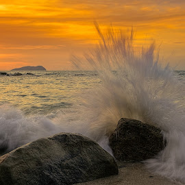 Wave Anger Returned by Lawrence Chung - Landscapes Sunsets & Sunrises