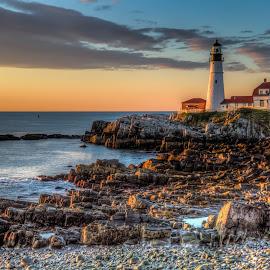 Portland Head Light by Ron Phillips - Landscapes Sunsets & Sunrises ( portland, maine, lighthouse, sunrise, landscape,  )