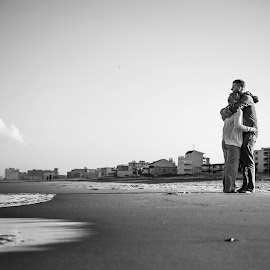 The Outlook by Alec Aita - People Couples ( clouds, love, ocean city, black and white, maryland, ocean, couple, beach )