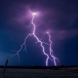 Reach by Robert Sinner-Storm Chaser - Landscapes Weather ( clouds, field, fence, lightning, weather, storms )