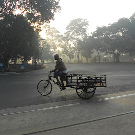 Early Kolkata by Soumya Majumder - Landscapes Travel ( to earn money, lonely road, on road, hard work, early kolkata )