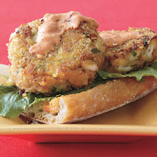 Open-Face Crab Burgers with Red Pepper Dressing