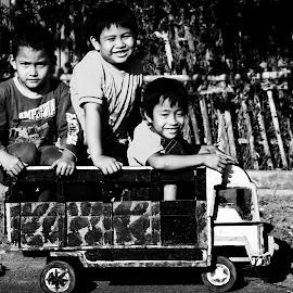 Truck by Ray Alexander - Babies & Children Children Candids ( friends, black and white, truck, boys, fun )
