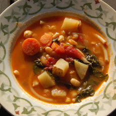 Tomato, Garbanzo Bean, Pasta Soup