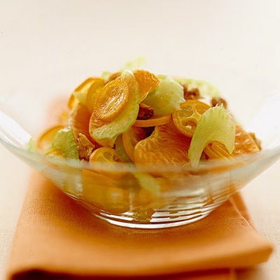 Honey Tangerines and Kumquats with Walnuts and Shaved Celery