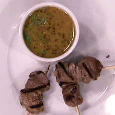 Irish Stout and Garlic Marinated Lamb Tenderloin Skewers with Honey Dipping Sauce
