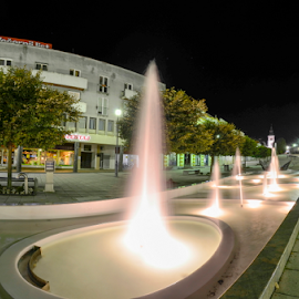 Water night dance by Predrag Uskokovic - City,  Street & Park  City Parks ( water, daruvar, night, light, dance )