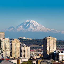 Seattle by Jeffery Hayes - City,  Street & Park  Skylines ( mountain, seattle, mount rainier, buildings, city )