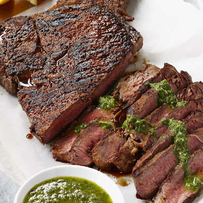 Spice Rubbed Rump Steak with Herb and Mustard Sauce