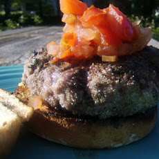 Aussie Lamb Burgers With Goat Cheese and Tomato Relish