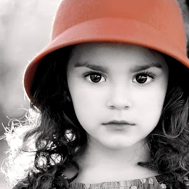 Portrait of a Girl by Darya Morreale - Babies & Children Child Portraits ( girl, color, black and white, portrait, hat, selective color, pwc )