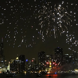 Chicago Saturday Fireworks Display by Maggie Pieczonka - Abstract Fire & Fireworks