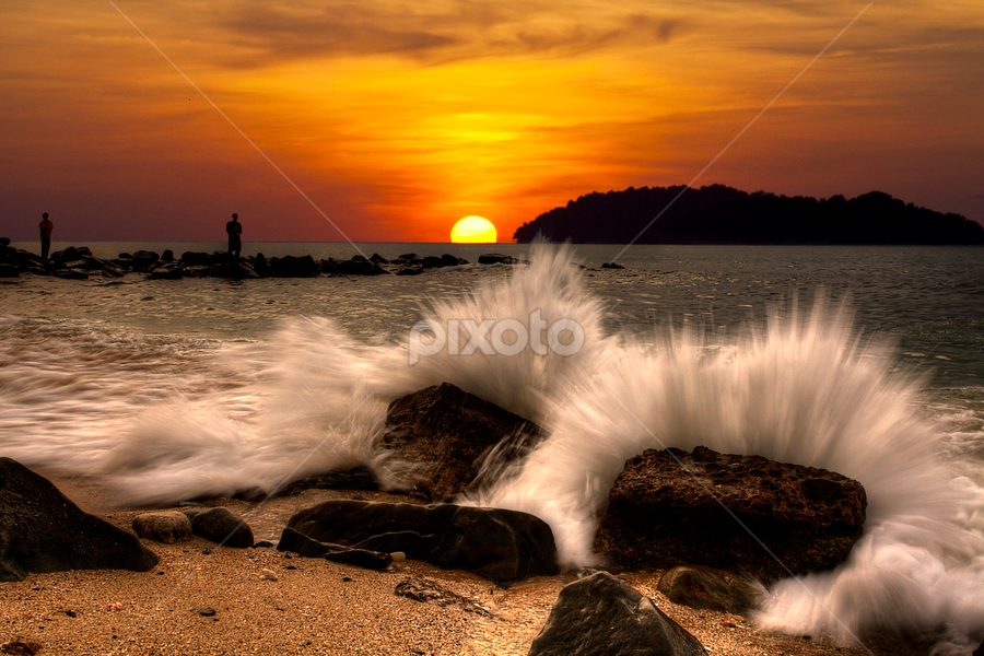 The Horizon by Lawrence Chung - Landscapes Sunsets & Sunrises ( splash, splashing, rocky beach, waves, sunset, wave, beach, landscape )