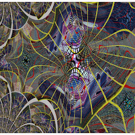 Fine Lines by Joerg Schlagheck - Digital Art Abstract ( bow., pattern, color, grey, spider, fine, lineds,  )