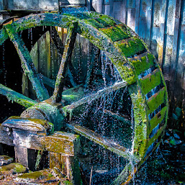 Smokey Mountain Water Wheel by Michael Moss - Buildings & Architecture Other Exteriors ( water wheel, smokey mountains )