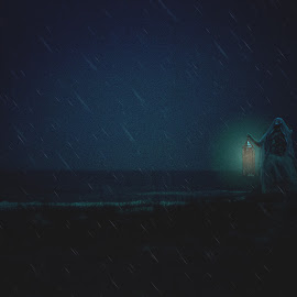 Waiting by Jennifer Marie - Digital Art People ( mother, waiting, photo manipulation, fine art, night time, beach, conceptual )