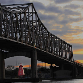 Another view by Zeralda La Grange - Buildings & Architecture Other Exteriors ( #morgancity, #bridge, #lighthouse, #sunset, #water )