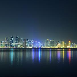 Doha Skyscrapers by Reynaldo Andrada - City,  Street & Park  Skylines ( skyscrapers, doha, qatar, lighttrails )