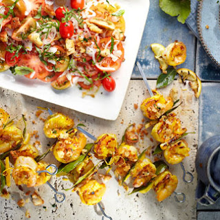 Saffron And Bay Prawns With Lemon Breadcrumbs And Tomato Salad