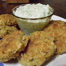 Chickpea Fritters With Tzatziki Sauce