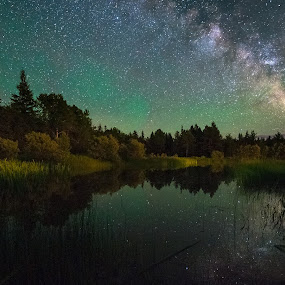 Milky Way over backyard pond by Aaron Priest - Landscapes Starscapes ( sky glow, reflection, lee, maine, stars, astrophotography, night, pond, milky way )