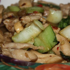 Ginger-Sesame Chicken With Bok Choy, Onion and Mushrooms