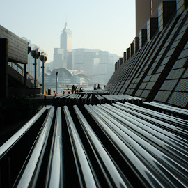 Hong Kong by Gary Long - City,  Street & Park  Skylines ( vertical lines, pwc )