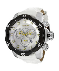 Invicta Men's Venom/Reserve Chronograph Silver Dial White Genuine Leather INVICTA-11856 Watch