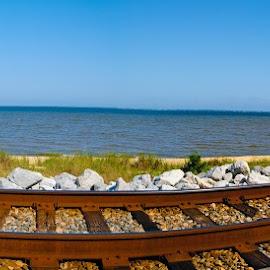 Railroad panorama  by Jon Cody - Transportation Railway Tracks ( shore, train tracks, railroad, panorama )