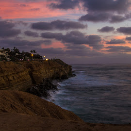 Sunset Cliffside by Greg Head - Novices Only Landscapes ( clouds, water, orange, red, sunset, ocean, landscape, dusk,  )