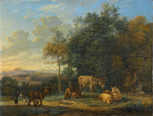 RIJKS: Karel Dujardin: Landscape with Two Donkeys, Goats and Pigs 1655