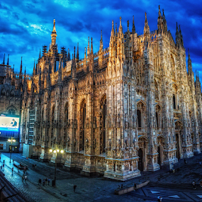 Duomo di Milano by Andrea Conti - Buildings & Architecture Public & Historical ( clouds, church, duomo, architecture, worship, historic, city, catholic, italia, duomo di milano, buildings, night, cathedral, italy, milano, cathedral of milan )