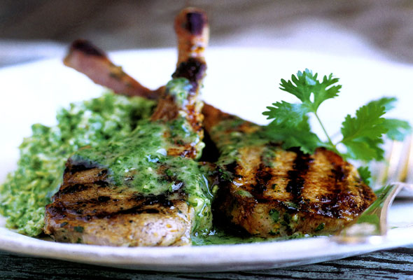 Lamb Chops with Cilantro-Mint Sauce