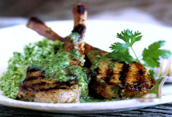 Lamb Chops with Cilantro-Mint Sauce