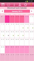 Screenshot of Menstrual Cycle Calendar