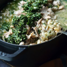 Lemon Braised Chicken & Beans with Mint Pesto