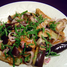 Warm Eggplant Salad With Sesame and Shallots