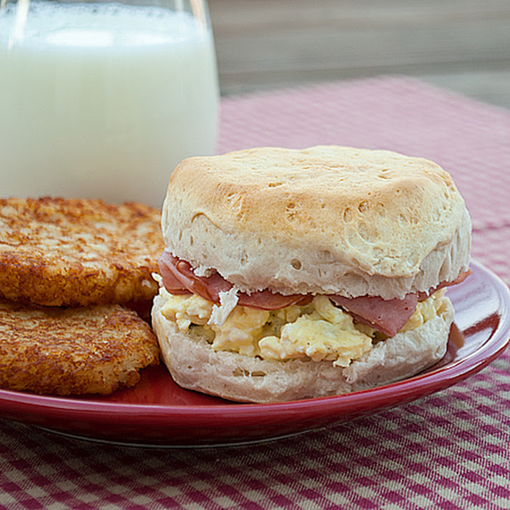 Creamy Egg and Biscuit Sandwiches Recipe | Yummly