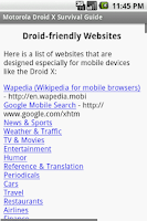 Screenshot of Motorola Droid X Guide