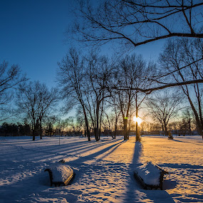 Beautiful Cold Sunset by Éric Senterre - Landscapes Sunsets & Sunrises ( sunset sun snow shadows cold )