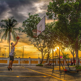 by Kulchan Kitti - Sports & Fitness Basketball ( basketball, park, shoot, sunset, sport )