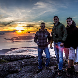 Friends on top of the World by Samuk Domingues - People Portraits of Men ( clouds, adventure, friends, mountain, sky, sunset, pico, island, azores,  )