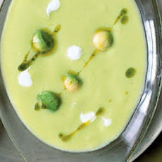 Cold Avocado Soup with Chili Coriander Cream