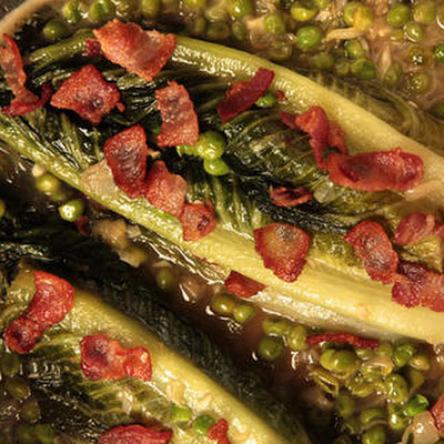 Braised Lettuce with Bacon, Shallots, and Peas