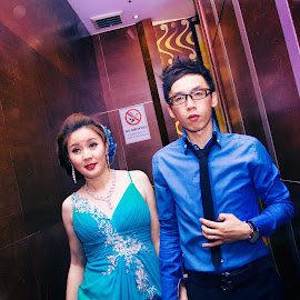 Night Ceromy  by Xiiao Hua - Wedding Bride & Groom ( bride, groom, couples )